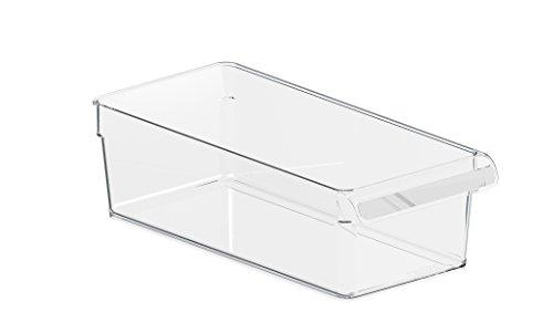 durchsichtig//blau mDesign 2er-Set Aufbewahrungsbox mit Griffen Ablage aus BPA-freiem Kunststoff f/ür den K/üchen- oder K/ühlschrank praktische K/ühlschrankbox zur Lebensmittelaufbewahrung